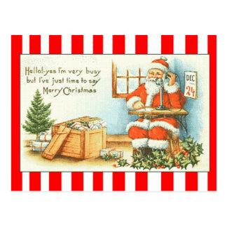 Postal del saludo de Santa del vintage