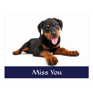 Postal del saludo del perro de perrito de Srta. Yo