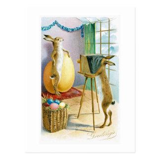 Postal del saludo del retrato del conejito de pasc