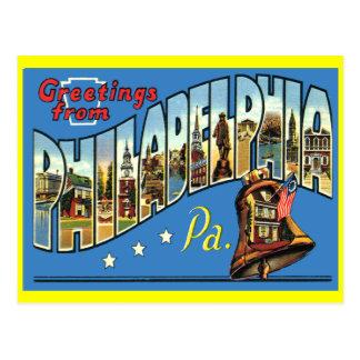 Postal del saludo del vintage de Philadelphia