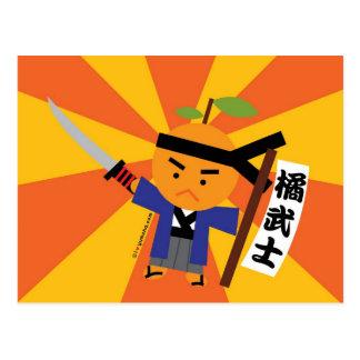Postal del samurai de la mandarina