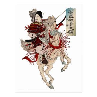 Postal del samurai de la mujer