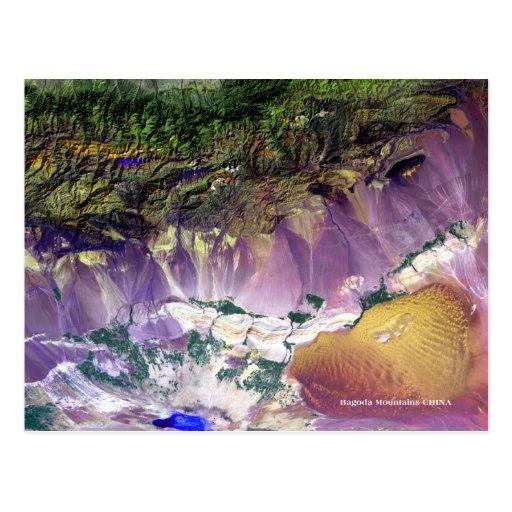 Postal del satélite de las montañas de Bagoda