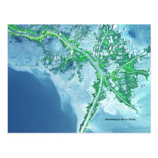Postal del satélite del delta del río Misisipi
