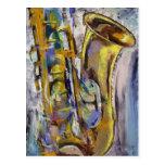 Postal del saxofón del jazz