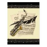 Postal del saxofón y de la música del piano