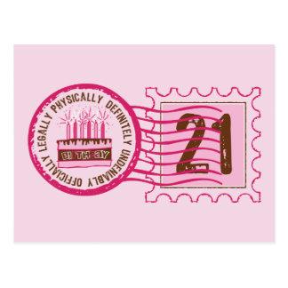 Postal del sello 21 del cumpleaños