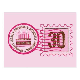 Postal del sello 30 del cumpleaños