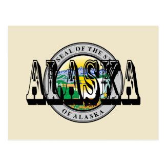 Postal del sello del estado de Alaska