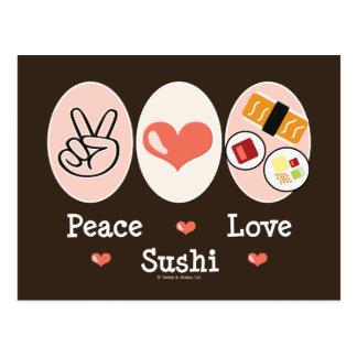 Postal del sushi del amor de la paz
