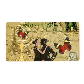 Postal del tango de París del vintage Etiqueta De Envío