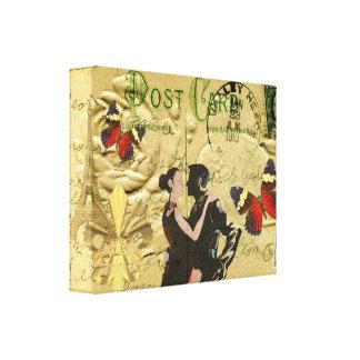 Postal del tango de París del vintage Impresiones De Lienzo