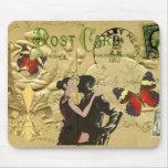 Postal del tango de París del vintage Tapete De Ratón