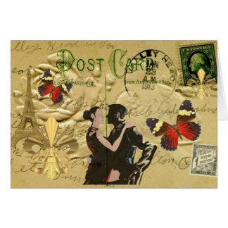 Postal del tango de París del vintage Tarjeta De Felicitación
