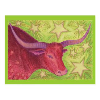 Postal del tauro del zodiaco