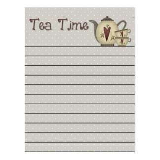 Postal del tiempo del té