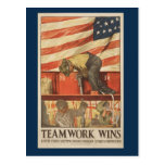 Postal del trabajo en equipo de la guerra del vint
