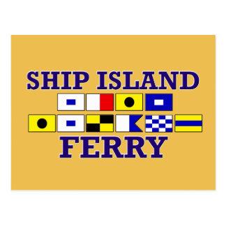 Postal del transbordador de la isla de la nave