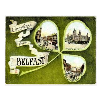 Postal del trébol de Belfast del vintage