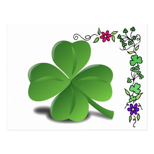 Postal del trébol del trébol del día de St Patrick