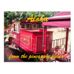 Postal del tren de la piña de Hawaii