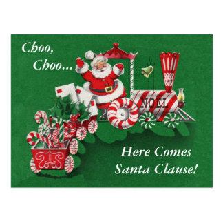 Postal del tren del navidad de Santa