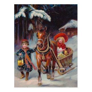 Postal del trineo del navidad