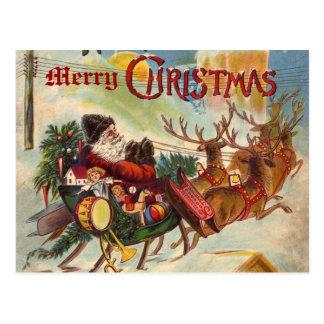 Postal del trineo del reno de Papá Noel del vintag