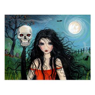 Postal del vampiro de la bruja de Halloween
