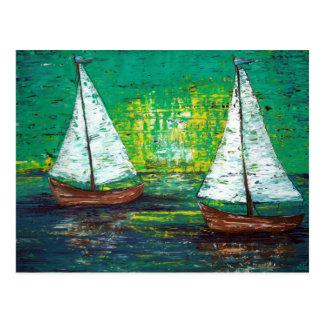 Postal del velero de la navegación