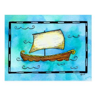Postal del velero de los nórdises