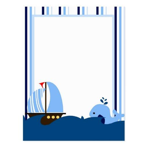 Postal del velero y de la ballena