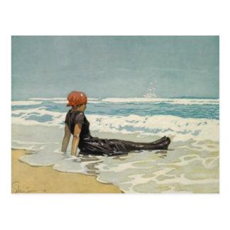 Postal del verano del vintage de la playa [ningún