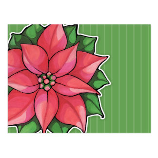 Postal del verde de la alegría del Poinsettia