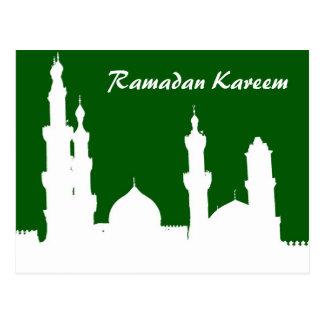 Postal del verde de la mezquita del Ramadán