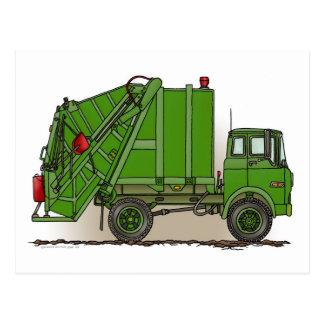 Postal del verde del camión de basura