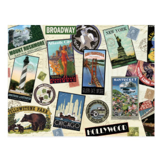 Postal del viaje de América del vintage