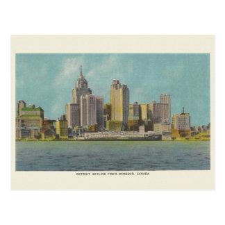 Postal del viaje de Detroit Michigan del vintage