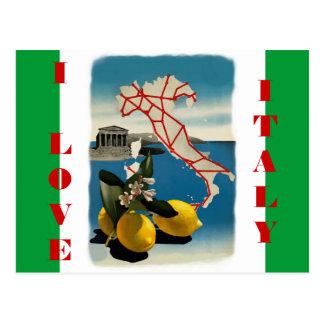 Postal del viaje de Italia del vintage con colores