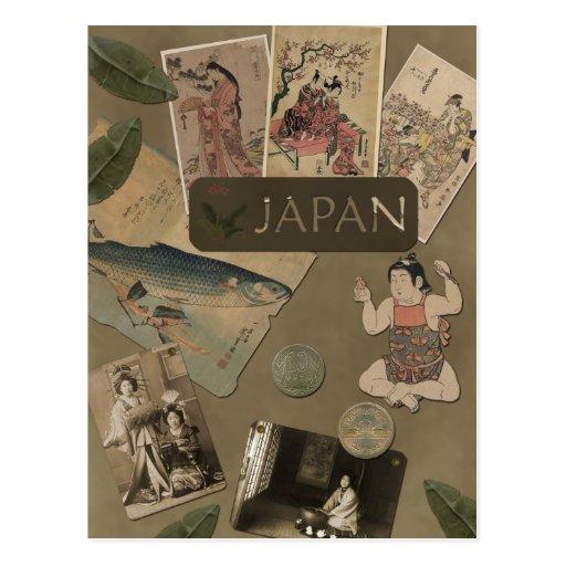 Postal del viaje de Japón del vintage