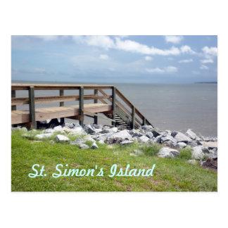 Postal del viaje de la isla de St Simon