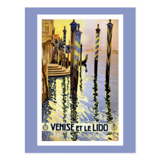 Postal del viaje de Venecia Italia del vintage