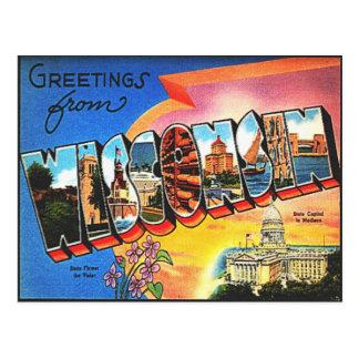 Postal del viaje de Wisconsin del vintage