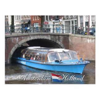 Postal del viaje del barco de canal de Amsterdam