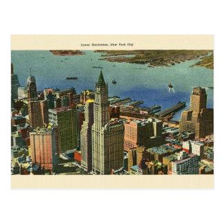 Postal del viaje del Lower Manhattan del vintage