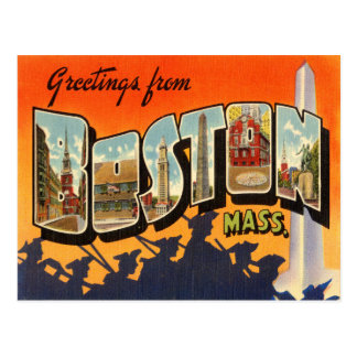 Postal del viaje del vintage de Boston restaurada