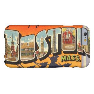 Postal del viaje del vintage de Boston restaurada Funda De iPhone 6 Barely There