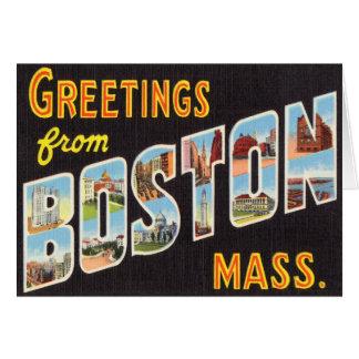Postal del viaje del vintage de Boston restaurada Tarjeta De Felicitación