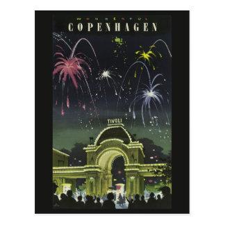 Postal del viaje del vintage de Copenhague