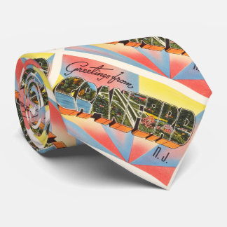 Postal del viaje del vintage de Cranford New Corbata Personalizada